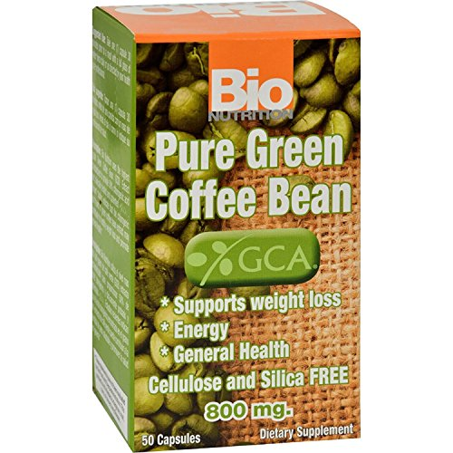 Bio Nutrition Pure Green Coffee Bean – 800mg – 50 Gelcaps – Gluten Free – Support Weight Loss