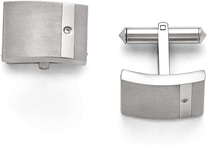 Stainless Steel Polished and Brushed CZ Cubic Zirconia Cuff Links