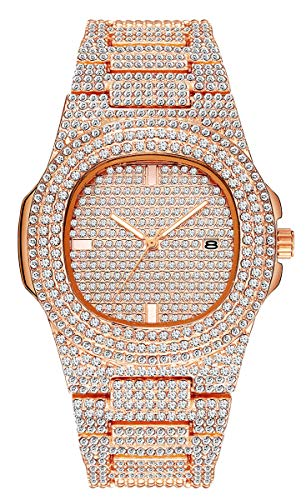 Luxury Mens/Womens Unisex Crystal Watch Bling Iced-Out Watch Oblong Silver/Gold Wristwatch Fashion Diamond Quartz Analog Watch with Stainless Steel Bracelet ()