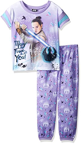 (Star Wars Girls' Little Galactic 2-Piece Pajama Set, Purple Force,)