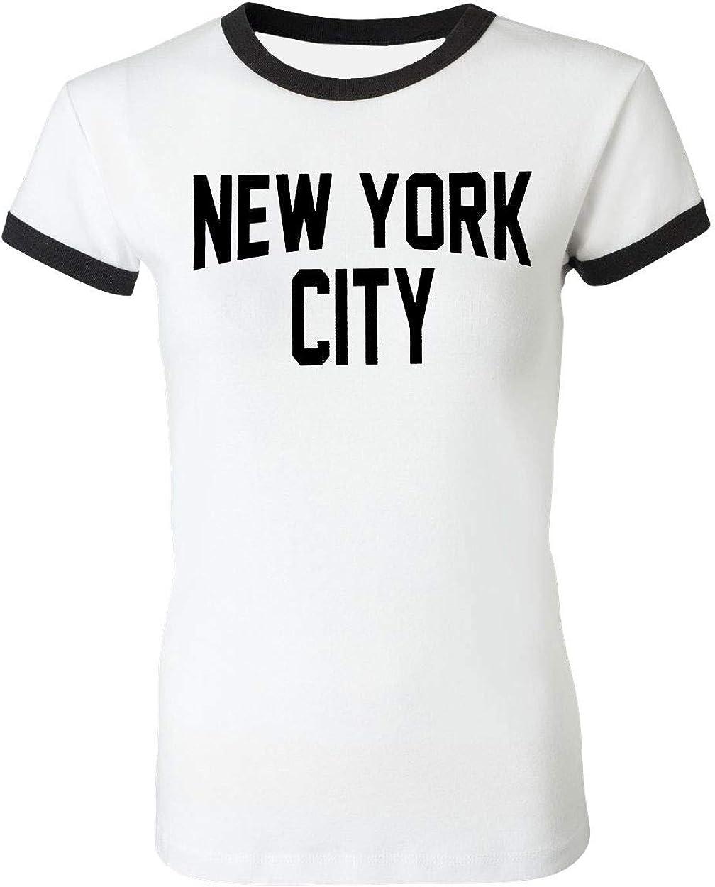 Ladies New York City Ringer Shirt Distressed Retro Design Tee Black White
