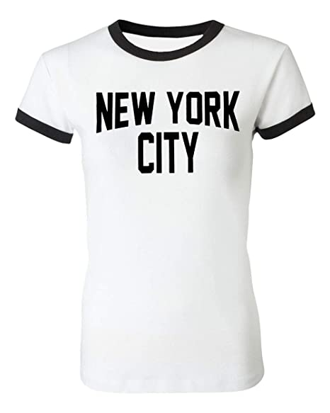 Ladies New York City John Lennon T-Shirt Ringer Womens Tee White (Small) 6fbf0df9bc3
