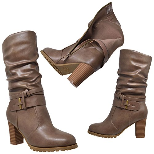 Girls Knee High Boots Ruched Faux Leather Strappy Buckle Zip Kids Low Heels