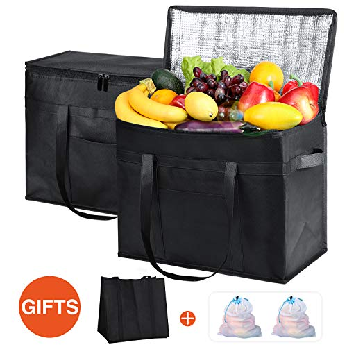 Glotoch XL Insulated Grocery Bags Set of 5-Include 2 Insulated Bags,1pc Grocery Bag,2pcs Mesh Produce Bags. Washable, Reinforced Bottom and Handles Insulated Grocery Shopping Bags for hot or Cold Food