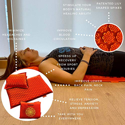 Acupressure Mat and Pillow Set - Acupuncture Massage Mat for Relieving Back, Neck Pain and Headaches - Naturally Relieve Tension, Stress or Anxiety - Stimulate Your Sacral Chakra - Free Tote Bag