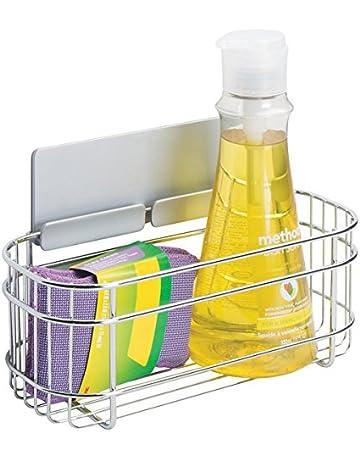 mDesign AFFIXX Estantes de cocina para lavavajillas, estropajos, etc. – Estantería metálica de