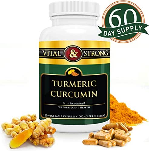 Turmeric Curcumin with Bioperine Black Pepper Capsules 1000mg - Premium Pain Relief & Natural Anti Inflammatory Joint Support - Turmeric Curcuma Extract - Non-GMO, Vegan Capsules - 60 Day Supply