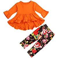 2Pcs Little Girls Outfit Set Orange/Pink Long Sleeve Ruffle Irregular Hem Blouse Top and Floral Pants Clothes Sets