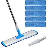 "Microfiber mop 18"" Wet mop for hardwood Laminate Tile floors cleaning, 360 Degree Rotatable, Adjustable, Lightweight Wet/Dry Mop + 5 Reusable Premium Mop Pads Refills + 1 Free Dirt Removal Scrubber"