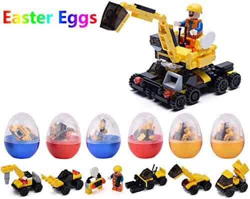 Mayzo Easter Eggs with Toys Inside,Easter Eggs Filled with Building Blocks Toys for Party Favors,6 PCS Surprise Easter Basket Stuffers Gifts for Kids/Boys.(Construction Vehicles)