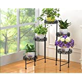Iron Folding Flower Stand/Indoor and Outdoor, Balcony, Living Room Floor Multi-Storey Shelf, shrinkable Folding, Exquisite Fashion (Color : Black)