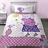 Peppa Pig Childrens/Girls Official Little Things Reversible Duvet Cover Bedding Set (One Size) (Pink/White)