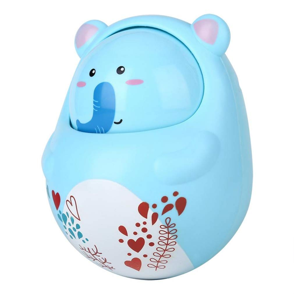 bluee Baby Toys Infant Rattle RolyPoly Tumbler Musical Hand Bell Toy Cartoon Swing Rattle Newborn Develop Toys for Baby 024 Month