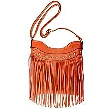 BMC Womens Faux Leather Tassel Accent Thin Fashion Clutch Handbag