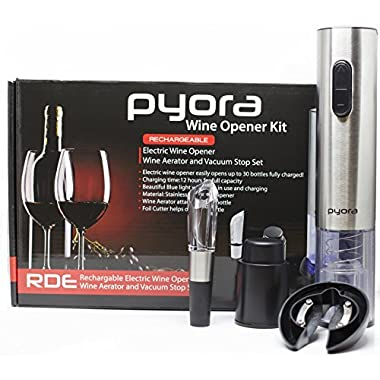 Pyora Stainless Steel Rechargeable Electric Wine Opener with Foil Cutter Aerating Pourer Vacuum Stop