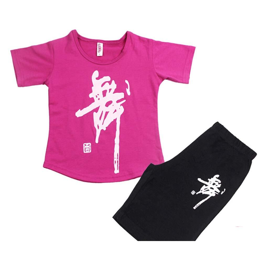J Jian E& Vêtements de Danse pour Enfants col Rond Costume Filles Coton Exercice vêtements à Manches Longues été Pantalon Latin Complet des Costumes pour Hommes 150-160cm