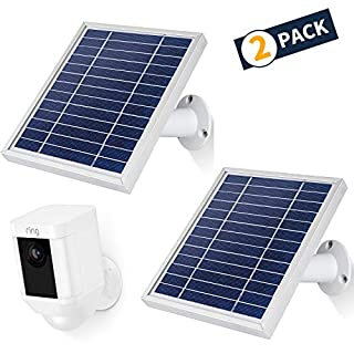 iTODOS Solar Panel Compatible with Ring Spotlight Cam Battery and Ring Stick Up Cam Battery,11.8Ft Outdoor Power Charging Cable and Adjustable Mount(2 Pack, White)