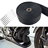 "Dewhel 2"" 50Ft Roll Black Fiberglass Exhaust Header Pipe Wrap with 6 Ties Kit HIGH TEMP"