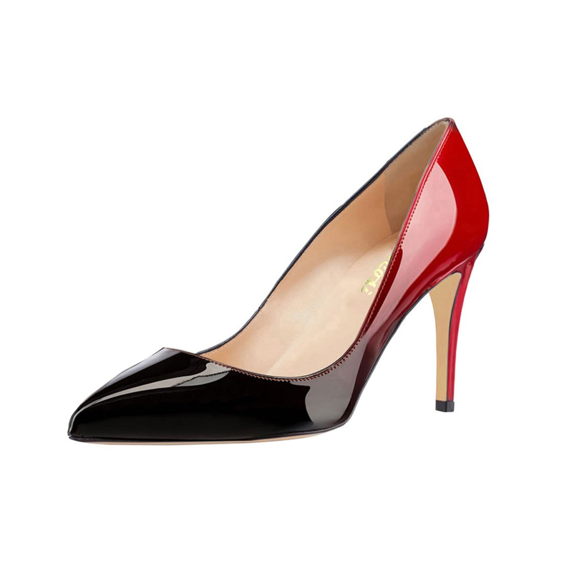 VOCOSI Women's Basic Simple High Heels Slip On Closed Pointed Toe Ladies Dress Pumps B073JFSH61 9 B(M) US|Red-black(patent)