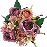 SOLEDI Artificial Flowers 12 Heads Lifelike Autumn Xiangshan Rose For Wedding Home Bar Decor(Purple)