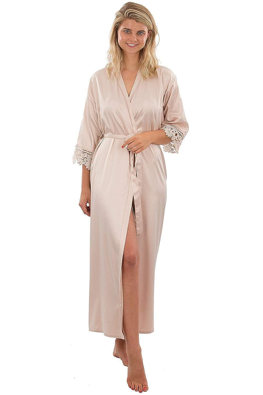 Champagne Michealboy Long Bathrobe for Wedding Bride Dressing Gowns Lace Cuff Soft Satin