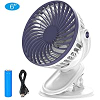 "6"" Mini Battery Operated Clip on Stroller Fan, USB Powered Table Desk Fan with Low Noise Motor, 360° Rotation, 2200mAh Rechargeable Battery, Cooling for Office, Baby Stroller, Camping, Fishing"