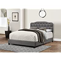 Furniture World Sandro Curved Style Button Tufted Upholstered Headboard, Queen, Charcoal (Footboard and Side Rails Sold Separately)
