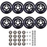 Rollerex VXT500 Inline Skate/Rollerblade Wheels (8 Wheels w/Bearings, spacers and washers)