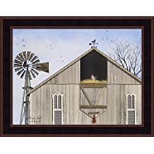 Winds Aloft by Billy Jacobs 15x19 Weathered Barn Windmill Horse Weathervane Hayloft Chicken Framed Art Print Picture