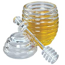 Fox Run 4163 Honey Jar and Dipper Set, Acrylic