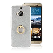Soft Flexible TPU Back Cover Case Shockproof Protective Shell with Bling Glitter Sparkles and Kickstand for HTC M9 Plus ( Color : White )