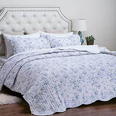 Bedsure  English Garden  Printed Quilt Set -- Bedspread and Coverlet, Quilt and Sham, Hypo-allergic and Lightweight -- Full/Queen, Blue