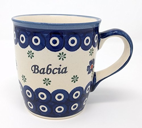 Babcia – Grandma Mug from Polish Pottery – Blue Eye with Flowers