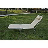 Outsunny Portable Adjustable Reclining Seat Folding Garden Chaise Lounge Outdoor Camping Beach Lounging Bed with Pillow (Beige)