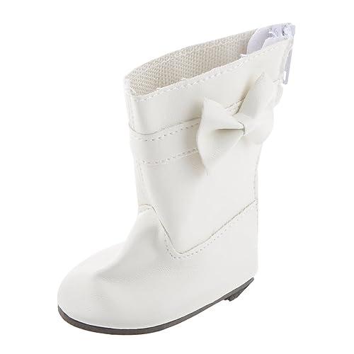 Paire Bottes Chaussures Zippé Avec Bowknot Accessoire Pour Poupées de 18 Pouces - Blanc, 1.2m