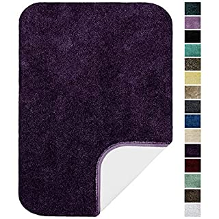 """Maples Rugs ColorSoft Non Slip Washable & Quick Dry Soft Bathroom Rugs [Made in USA], 17"""" x 24"""", Eggplant"""