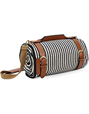 G GOOD GAIN Extra Large Picnic Blanket for Outdoor Camping,Acrylic Picnic Rug with Waterproof,Sandproof Backing,Foldable Beach Blanket with Luxury Leather Carrier and Canvas Shoulder Strap.59X79inch…