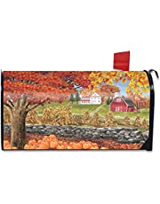 """Autumn Day Scene Magnetic Mailbox Covers Wraps Post Letter Box Cover Letter Box Cover Sun Protection for House Garden Yard Welcome 18"""" X 21"""""""