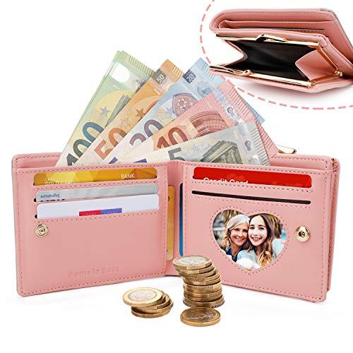 Damen Portemonnaie Kunstleder klein Geldbeutel mit Münzfach Mini Geldbörse für Frauen (Rosa 1)