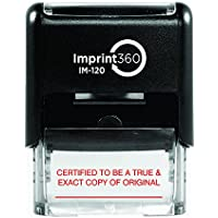Imprint 360 AS-IMP1047 CERTIFIED TO BE A TRUE & EXACT COPY OF ORIGINAL Rubber Stamp with Signature Line, Laser Engraved for Clean, Precise Imprints, 1/2 Impression Size, 9/16 x 1, Red Ink
