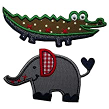 2 Patches Alligator 9x3 cm Elephant 6x4cm Patch Hotfix patch of fabric colored large patches for jeans rating Apparel Garment mending Baby Kids sewing craft gray red khaki dark blue Animal Set mend p