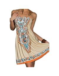 ACVIP Women's Boho Style Beach Vacation Mini Tube Dress