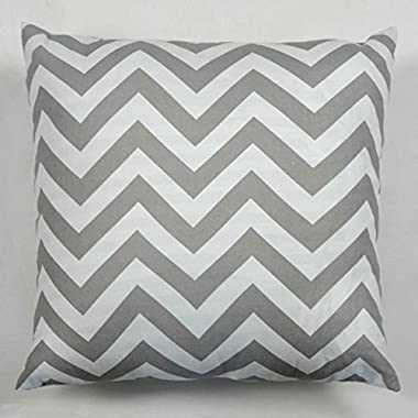 Cjeremy2000 18 X 18 Inches Decorative Cotton Canvas Square Throw Pillow Cover Cushion Case Handmade Chevron Stripe Toss Pillowcase with Invisible Zipper Closure(Grey)