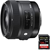 Sigma 30mm F1.4 ART DC HSM ART Lens for Canon Digital SLR Cameras (301101) with Sandisk Extreme PRO SDXC 128GB UHS-1 Memory Card
