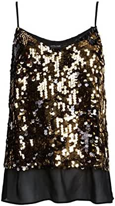 OThread & Co. Women's Glitter Sequins Strap Tank Top Cami Blouse