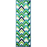 Modern Geometric 2 feet by 7 feet (2 x 7) Runner Metro Blue Contemporary Area Rug
