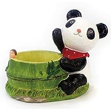 Cute Succulent Pots with Drainage Resin Mini Flower Pot Garden Plants Pot Desk Flower Decoration (Panda)