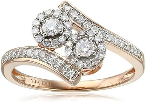 10k Rose Gold Diamond 2-Stone Plus Ring (1/2cttw, I-J Color, I2-I3 Clarity)