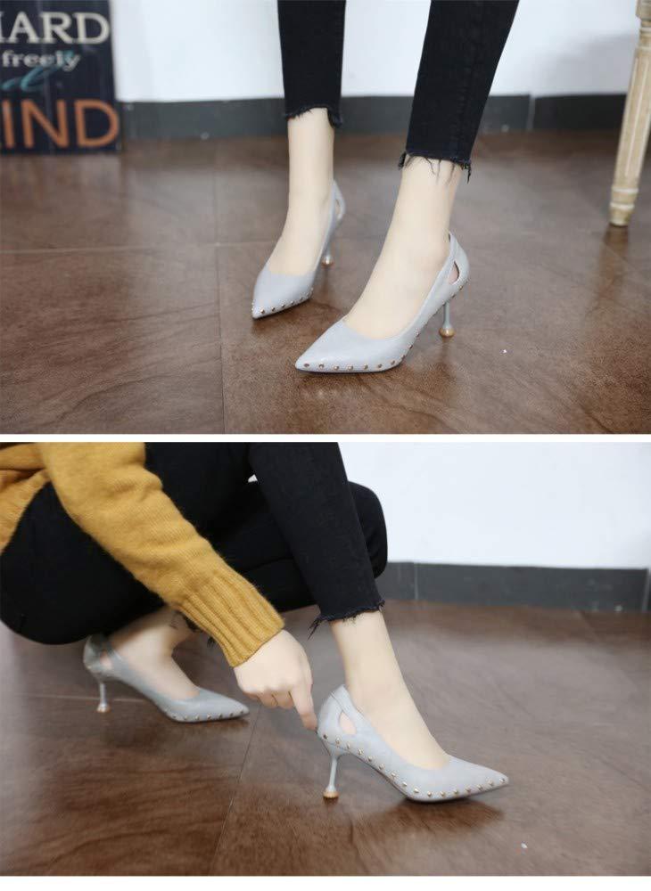 ZZDSH ZZDSH ZZDSH Verzierte Flache Mundgraue High Heels Weibliche Feder Sexy Hohle Stiletto Spitze Einzelne Schuhe, 36 9899c1