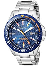 Nautica de los hombres 'Jones Beach Collection' resina y acero inoxidable de cuarzo reloj Casual, color: plateado (modelo: napjbc004)